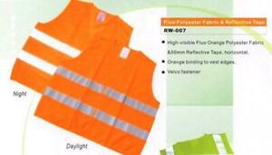 5 Pack Hi Visibility Vests Waistcoat High Viz Safety Work Reflective Orange XL
