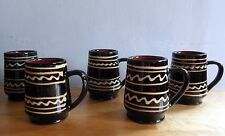 Vintage South Wales Slipware Ewenny/Claypits Potteries Lot of Five Matching Mugs