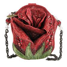 Mary Frances Handbag Rose Bud Flower Petal Red Beaded Jeweled Purse Shoulder Bag