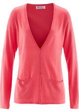 Strickjacke koralle XS S M L XL XXL Damen Jacke mit Taschen Knöpfe lang 976 neu