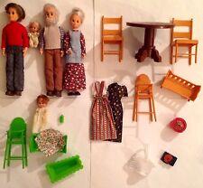MATTEL SUNSHINE FAMILY Dolls Lot- Grandparents, Dad, Sweets LAYETTE-+ Furniture