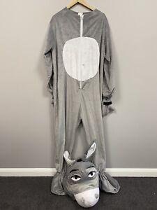 Adults Grey Donkey Costume With Padded Head One Size Fancy Dress Shrek Mascot