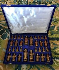 Vintage Indian Camel Bone Chess Set
