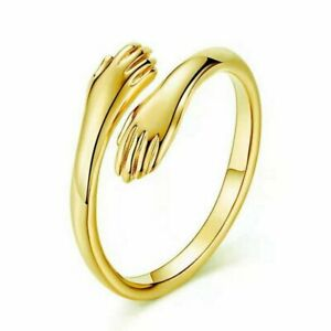 Fashion Gold Palm Love Hug Punk Adjustable Open Ring Women Men Jewelry Gift New