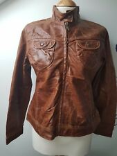 UK8/10 S 15-16yrs NEXT Rich Brown Real Oiled Leather Outdoor Fashion Jacket Coat