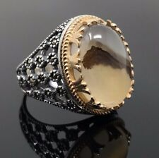 Rare Find 925K STERLING SILVER Yemeni AGATE(Aqeeq)  MEN'S RING  USA SELLER P5D