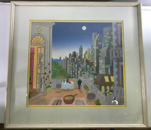 "Thomas McKnight Lithograph ""Midtown from The Manhattan Penthouse Suite Framed"