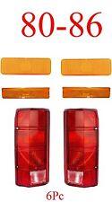 80 86 Ford 6Pc Front Amber Parking Light, Side Fender Light & Tail Light Set NIB