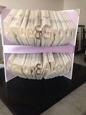 Folded Book Art. Bride And Groom With Their Names. Personalised Gift Wedding