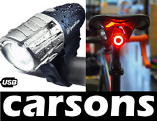 front led & rear moon USB rechargeable bike lights set kit light cycling CARSONS