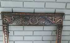 ANTIQUE Cast Iron FIREPLACE  SURROUND w/ ROARING DRAGONS **outstanding**