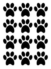 PAW PRINTS LARGE Dog Cat - 4cm 12 per sheet BLACK