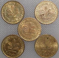 5 Pfennig 1992 A D F G J Kompletter Satz