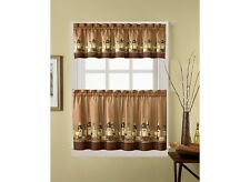 CHF Industries Wines Tailored Tier Valance Kitchen Curtain Set 56in X 24in Brown