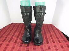 Zara Black Leather Calf Zip Casual Boots Women Sz 35 EUR/4-5 US