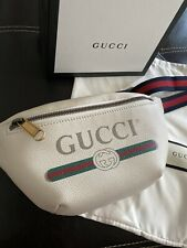 Gucci Print White Leather Small Belt Bag