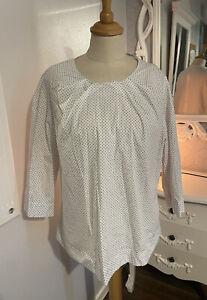 KEW White Black Polka Dot Cotton Loose Tunic Top UK 16 Size XL Button Up Back