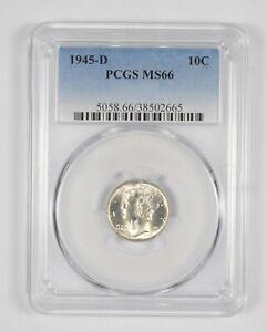 MS66 1945-D Mercury Dime - Graded PCGS *923