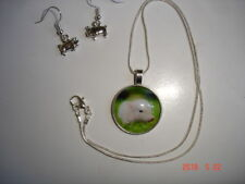 Very Cute Pot Belly Pigs Glass Cabochon Necklace + Piggy Earrings