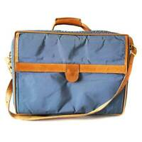 Hartmann Men's Blue Nylon Leather Briefcase Suitcase Carry On Luggage Bag