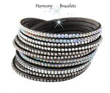 Charcoal Swarovski Elements Multibling Wrap Slake Bracelet by Harmony Bracelets