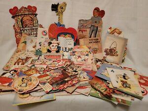 BIG LOT VINTAGE 1950s-60s GREETING CARDS - Embossed, glitter +++