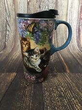 New Cypress Ceramic Travel Coffee Mug Cup Tall Kittens Cat Lover Butterflies