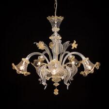Ca' venier lustre en verre de Murano 5 lumières cristal ambre
