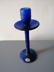 Vintage Sherekat Frosted Art Glass Handmade Tall Dark Cobalt Blue Candlestick