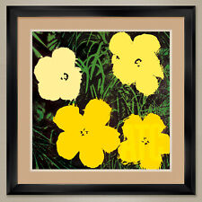 """32W""""x32H"""" FLOWERS 1964 (YELLOW TONES) by ANDY WARHOL DOUBLE MATTE, GLASS & FRAME"""