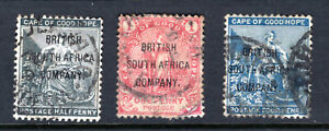 RHODESIA Stamp Lot #8: 1896, Scott #43, 44, 46, Used
