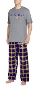 New NWT Minnesota Vikings Pajamas Set Pjs S/S Shirt Pants Mens Size Medium