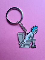 UK SELLER  Rick and Morty keyring. Rick on the throne