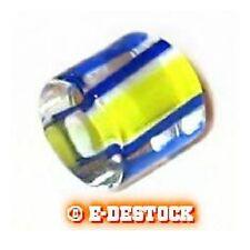 10 Perles tubes cylindre moyen verre pop blanc jaune ligné bleu 9x10mm