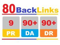80 Backlinks DA90 Manually submission website SEO Increase Google Ranking  site