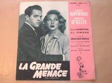 "RARE DOSSIER DE PRESSE DEPLIANT DU FILM ""LA GRANDE MENACE"" / LOUIS HAYWARD +++"