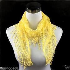 Womens Lace Tassel Sheer Burntout Floral Print Triangle Mantilla Scarf Shawl
