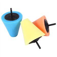 3Pcs 6mm Sponge Cone Metal Foam Pad Car Auto Wheel Hub Care Polish Buffing Shank
