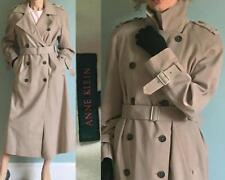 ANNE KLEIN LONG CLASSIC BELTED DOUBLE-BREASTED MILITARY TAN TRENCH COAT P/M (S?)