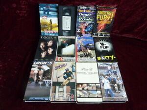 12 Skateboarding VHS Movies Logic 5,6,7 Curb Dogs Rob Dyrdek Rodney Mullen D Way