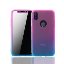 Apple iPhone X Hülle Case Handy Cover Schutz Tasche Glas Panzerfolie Pink / Blau