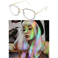 Small Vintage Clear Lens Round Glasses Gold Black Metal Frame Unisex Eyeglasses