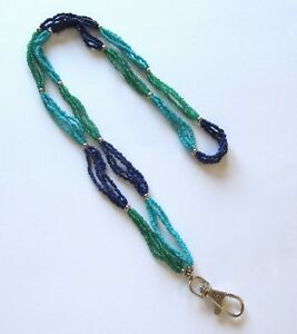 Spirit of Nature Lanyard/ID holder- seed beads- turquoise purple green