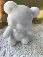 "BOYD GLASS FUZZY THE BEAR MILK WHITE 3"" HIGH B IN DIAMOND Paperweight Milkglass"