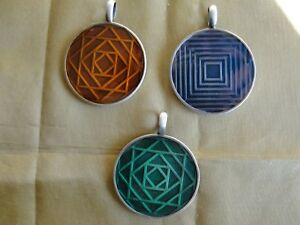 Antique Pewter & Enamel Focal Bead Drop Pendant - New - Three Color Choices