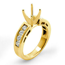 0.50 Ct Round Channel Diamond Semi Mount Engagement VS1 G Ring 14k Gold Yellow