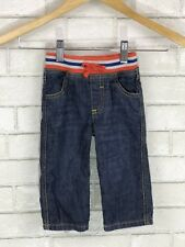 Baby Boden Boys Jeans Sz 6-12 Months Orange Striped Ribbed Waistband Drawstring