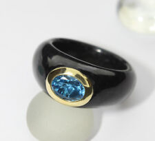 Negro jade-ring CON TOPACIO AZUL london-blau 585-karat-gelbgold, NUEVO 5897