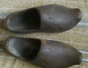 Vintage Dutch Hand Carved  Wooden Clogs. Size 9