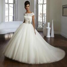 New White Ivory Pleat Train Ball Wedding Bride dress 4 6 8 10 12 14 16 18 KJ6466